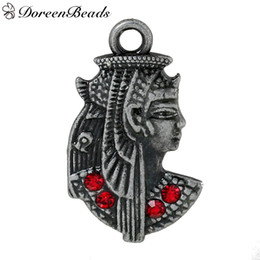 "Wholesale Antique Egyptian Jewelry - Zinc Metal Alloy Charms Egyptian Queen Antique Pewter Red Rhinestone 29mm(1 1 8"") x 17mm( 5 8""), 10 PCs 2016 new Free shipping jewelry makin"