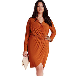 Wholesale Slinky Black Sexy Dress - 2016 Sexy New Autumn Women Dress V-Neck Rust Plus Size Slinky Wrap Full Sleeve Black Orange Dresses Hot Selling