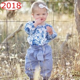 """Wholesale Baby Blue Balloons - """"blue and white porcelain"""" Ins Baby girls Floral Jumpsuit Balloon sleeve + pp pants 2pcs set Top Romper Baby girls clothes"""