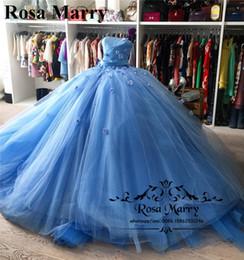 vestidos corset debutante Desconto Cinderela Masquerade vestido de Baile Quinceanera Vestidos 2020 Corset Luz Azul 3D Floral Tulle Debutante Doce 16 Vestidos 15 Anos Vestidos de Baile