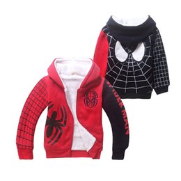 Wholesale Spiderman Thick Hooded - spiderman causal kids parkas coat sweatshirt thick Winter warm hooded coat for 3-12yrs children boys girls outerwear clothes
