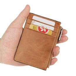 Wholesale Vintage Change Holder - Wholesale- Portable Coin Purse Genuine Leather ID Card Holder Credit Card Case Zipper Storage Men Vintage Wallet Rfid Blocking Change Bag
