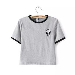 Wholesale Ufo Shirt - Wholesale-Alien UFO Printed Embroidery Design Short Top Shirt Tee 2016 Fashion Women T-shirt Tumblr Tops Female kawaii Funny Free Shipping
