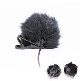 Micrófono solapa online-Al por mayor- Negro de piel parabrisas parabrisas viento manguito para micrófono de solapa micrófono a