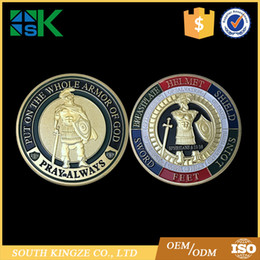 Wholesale Military Metal Box - 10pcs lot US Hottest Item Put the Armor to God Pray Always Colorful Soldier Military Army Challenge Coin