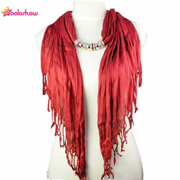 Wholesale Triangle Scarves For Women - AOLOSHOW Solid Color Triangle style Jewelry Beaded Scarfs Necklace for women With Short Tassel Simple Bead Necklace NL-1316