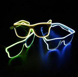 Wholesale El Light Shape - EL Glasses EL Wire Fashion Neon LED Light Up Shaped Glow Glasses Rave Costume Party DJ Bright SunGlasses
