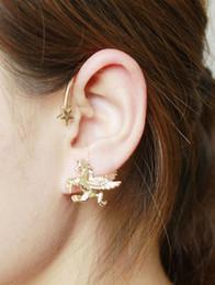 Wholesale Clip Earrings Star - Fashion Star Pegasus Earrings Animal Winged Horse Ear Clip Gold Silver Black Earrings For Women Girl Ear Jewelry