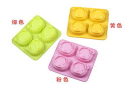 Wholesale Silicone Cat Tray - Bakeware Cute cartoon Hello Kitty model 4 even 3 colors 2 facial expression cat mold creative silicone cake mold baking mold Cookie tray hot