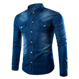 Wholesale Men S Washed Denim Shirts - Wholesale-Brand Mens Casual Denim Shirts Water-washed Long Sleeve Male Single Breasted Cotton Shirt, High Quality Men Leisure Jeans Shirts
