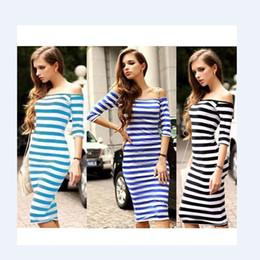 Wholesale Sheath Midi Dress - Women Stripes Half Sleeve Knee Length Midi Casual Off the Shoulder Bodycon Pencil Dress Fashion Sexy 3 Colors