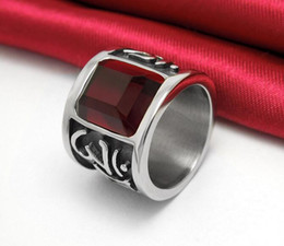 Wholesale Face Pulls - FREE SHIPPING 2016 Mantra ruby diamond titanium steel men's ring finger pull that wide domineering single men and women rings jewelry SA350