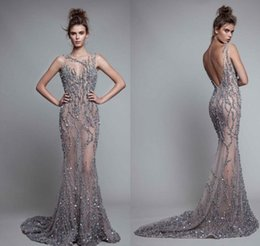 Wholesale Sexy Celebrity Club Wear - Luxury 2017 Evening Dresses Berta Mermaid Formal Celebrity Prom Gowns With Shinny Sequins Crystal Beading Sexy Backless Illusion Crew Neck