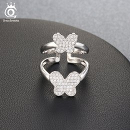 Wholesale Silver Butterfly Rings For Women - ORSA JEWELS Lead & Nickel Free Lovely Double Butterfly Shape Silver Ring for Women Micro Paved 70 Pcs AAA Cubic Zirconia OR63