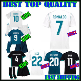 Wholesale Real Children - 17 18 real madrid kids kit JERSEYS SOCCER ASENSIO ronaldo 2017 2018 camiseta de fútbol bale MODRIC adult SERGIO RAMOS child FOOTBALL SHIRTS