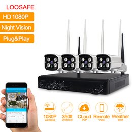 Wholesale Surveillance 4ch - LOOSAFE 4CH 1080P Security Camera System Waterproof Wireless Wifi Indoor and Outdoor Surveillance NVR CCTV IP Camera Kits