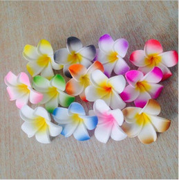 Wholesale Hawaiian Foam Flower Frangipani - 15% off! 200pcs lot Decorate Wedding Artificial Flower frangipani PE foam 4cm Fake Plumeria For Party Hawaiian Foam Multi Colors