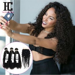 Wholesale Kinky Virgin Closure - 7a Grade Peruvian Curly Hair With Closure 4 Hair Bundles With Lace Closures Peruvian Virgin Hair Afro Kinky Curly With Closure