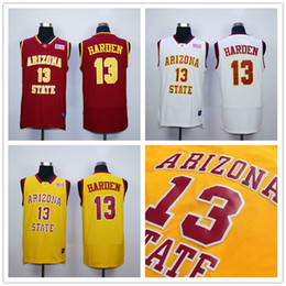 Wholesale Arizona States - Arizona State Sun Devils James Harden College Basketball Jerseys 13 James Harden Stitched University Shirts For Men Yellow Red White S-XXL