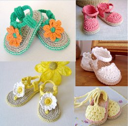 Wholesale Espadrille Sandals - 100% Made by hand CROCHET Baby Shoes,cotton yarn summer Buttercup Espadrille infant Sandals,princess walking shoes.12pairs 24pcs