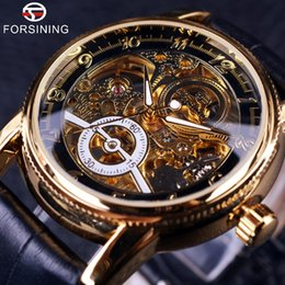 Wholesale Black Leather Gear - 2016 Forsining Hollow Engraving Skeleton Casual Designer Black Golden Case Gear Bezel Watches Men Luxury Brand Automatic Watches