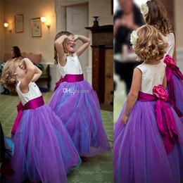 elástico de cetim vestido de bola vestidos de noiva Desconto Modest Wed Roxo Flower Girls Vestidos Para Casamentos Tule Elástico De Cetim Até O Chão Vestidos de Baile Pageant Vestidos Para Meninas