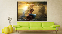 Wholesale Paint Offers - 2016 New Arrival Special Offer More Panel Painting Canvas Resim Tuval Chinese Writing Cloth The Beautiful Panoramic View of Mermaid Single