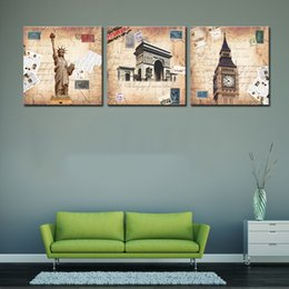 Wholesale Arch Triumph - Modern Wall Art Home Decoration Printed Painting Pictures 3 Piece Statue of Liberty Arch of Triumph London Big Ben