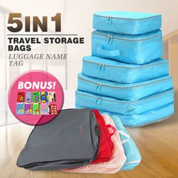 Wholesale Travel Organizer Clothes - 5pcs Packing Cube Pouch Suitcase Clothes Storage Bags Travel Luggage Organizer