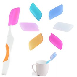 Wholesale Travel Toothbrush Covers - Silicone Toothbrush Case Covers Holder Travel Bathroom Silicone Case Dust Silicone Brush Head 6 Colors FREE DHL HH7-27