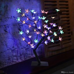 Wholesale Branch Table - Crystal Cherry Blossom 48 LEDs Tree Light Night Lights Table Lamp 45cm Black Branches Lighting Christmas Party Wedding LED Flowers Lights