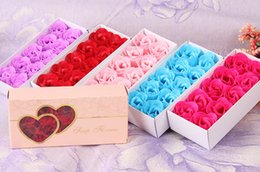 Wholesale Pink Flower Gift Box - 12pcs =1 Gift Box Scented Body Bath Soap Rose Soap Flower Best Wedding Decoration and Guest Gift Party Gift