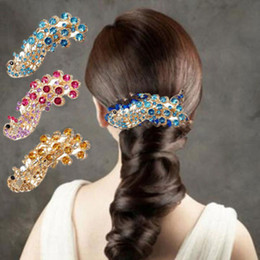 Wholesale Hair Decoration Clips - 1 PCS Women Ladies Bridal Peacock Full Crystal Hairpin Rhinestones Barrette Hair Clip Retro Decoration Hair Band Accessories