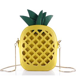 Wholesale Cross Body Bags For Girls - 2017 Leather Cute Handbag For Women Lovely Pineapple Girl Messenger Bag With Chain Hollow Out PU Women Bag Mini Purse