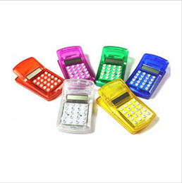 Wholesale Mini Clock Battery - Best Price!! FLCD Screen Display Mini Portable Pocket Clip Calculator for Student Free Shipping