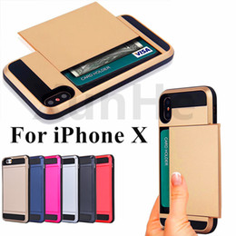 Wholesale Card Wallet Wholesales - Card Pocket Case For iPhone X 8 7 6 6S Plus For Samsung S8 S7 S6 Slide Spacious Wallet Case Slim Armor Case