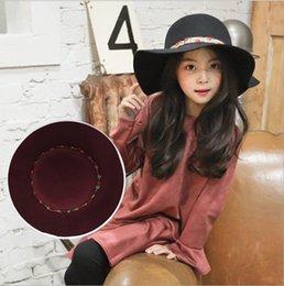 Wholesale Kids Fedora Hats Red - Korean Floral Girls Princess Hat Fashion Flower Wide Brim Hats Cute Children Fedora Caps Kids Sun cap Girl Casual Hats C2019