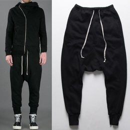 Wholesale Flat Black Clothing - Fashion Drop Low Crotch Pants Joggers Rick Harem Pants Hip Hop Man Swag Clothes Black Kanye West Black Men Owens Clothing Styles
