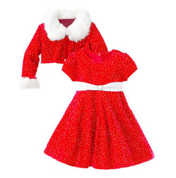 Wholesale Stocks For Baby Girl - Children Baby Christmas Long Sleeve Dress Girl Dress Cotton Coats for Girls Faux Fur Collar Sleeve Coat Fur Jacket Dress Suit in Stock