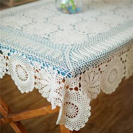 Länglicher tisch online-Rechteckige gehäkelte Tischdecke, längliche Tischdecke, handgehäkelte Tischdecke, beige Tischdecken-Tischwäsche für Wohnkultur