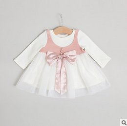 Wholesale Tow Pieces - Baby dresses baby little girls big bows gauze dress toddler kids fake tow piece long sleeve princess dress Infant autumn clothing T5082