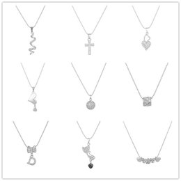 Wholesale Lady Multi Crystal Necklace - Korean Style Fashion Jewelry Rhinestone Silver Clavicle Chain Necklace For Women Bow Cross Heart Pendant Multi Style Lady Accessioress