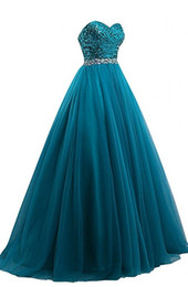 gold teal prom dresses Promo Codes - A line Teal Dresses Evening Wear Formal Gowns Sweetheart Sequined Fabric Backless Prom Dress Rhinestones Long Cheap New Pageant Gowns