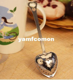 "Wholesale Tea Strainer Spoon Wholesale - 2016 Hot Spring ""Tea Time"" Convenience Heart Tea Infuser Heart-Shaped Stainless Herbal Tea Infuser Spoon Filter Free Shipping"