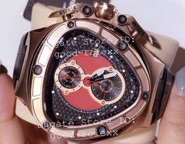 Luxusuhren rotes zifferblatt online-Top LuxuxMens Chronograph VK Ronda Quarz-Uhr-Mann-Rot Dial 66th Anniversary Uhren Männer Sport Rennwagen Rose Gold Leder Stoppuhr