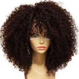 Wholesale Lace Wigs Curly Hair - Best quality Short Curly wigs Synthetic Ladys' Hair Wig Short curly Africa American synthetic lace front Wig for black woman