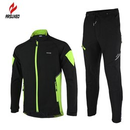 Wholesale Q Up - Wholesale-ARSUXEO Thermal Cycling Jacket Winter Warm Up Bicycle Sets Clothing Windproof Waterproof Soft shell Coat MTB Bike Pant 15-Q