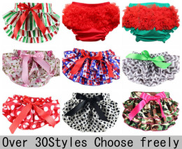 Wholesale Toddler Ruffle Underwear - Cotton Ruffle Chevron Baby Bloomers Cute Baby Pants Underwear Infant Lace Ruffle Short Diaper Cover Toddler Infant Baby Bloomers 30colors