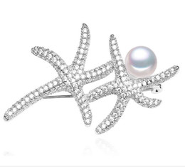 Wholesale Crystal Starfish Brooch Pin - 2.3 Inch Clear Rhinestone Crystal Double Starfish Brooch Pins Women Rhodium Silver Plated Vintage Style