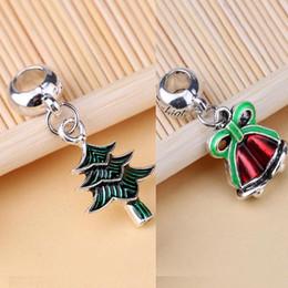 Wholesale Jingle Beads - 100pcs lot 2017 Pandora Christmas Tree and Jingling Bells Dangle Bead Fit Charm European Bracelet DIY Pendant Accessories